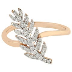 14 Karat Rose Gold 0.23 Carat Diamond Pave Ring Leaf Design Jewelry