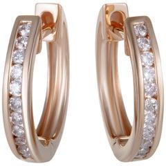 14 Karat Rose Gold 0.25 Carat Diamond Hoop Earrings
