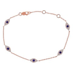 14 Karat Rose Gold 0.26 Carat Diamond and Sapphire Evil Eye Bracelet