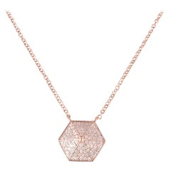 14 Karat Rose Gold 0.30 Carat Diamond Pendant Necklace