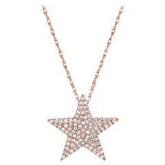 14 Karat Rose Gold 0.32 Carat Diamond Star Necklace