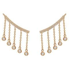 14 Karat Rose Gold 0.38 Carat Round Diamond Drop Climbing Earrings