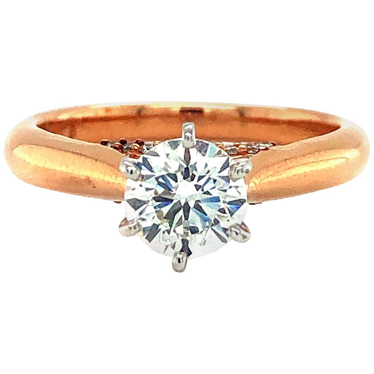 14 Karat Rose Gold 0.90 Carat GIA Certified Diamond Solitaire Engagement Ring
