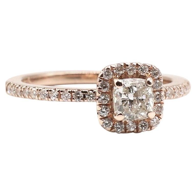 14 Karat Rose Gold 1/2 Carat Cushion Diamond Halo Engagement Ring For Sale