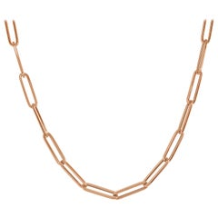 14 Karat Rose Gold 11.20 Grams Paperclip Chain Necklace