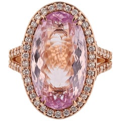 14 Karat Rose Gold 11.94 Carat Kunzite Diamond Ring