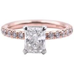 14 Karat Rose Gold 1.27 Carat Diamond Engagement Ring