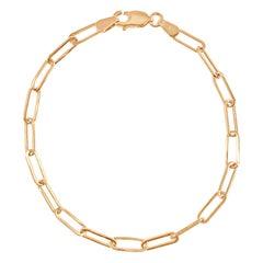14 Karat Rose Gold 1.70 Gram Paperclip Link Chain Bracelet