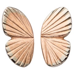 14 Karat Rose Gold 18 Karat Inlay Baby Asterope Butterfly Wing Earrings