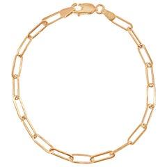 14 Karat Rose Gold 2.10 Gram Paperclip Link Chain Bracelet