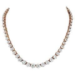 14 Karat Rose Gold 24.50 Carat Old Mine Diamond Rivere Necklace
