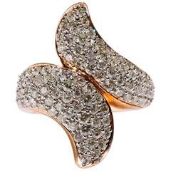 14 Karat Rose Gold 2.62 Carat Round Cut Pave Diamond Wrap Fashion Ring