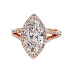 14 Karat Rose Gold 3.02 Carat Marquise Diamond Halo Engagement Ring