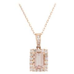 14 Karat Rose Gold 3.28 Carat Emerald Shape Morganite Diamond Pendant Necklace