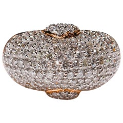 14 Karat Rose Gold 3.4 Carat Brilliant Round Cut White Diamond Band Ring