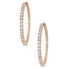14 Karat Rose Gold 3.94 Carat Round Brilliant Diamond Inside Out Hoops