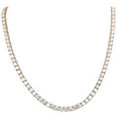 14 Karat Rose Gold 4 Prong Diamond Necklace 24.98 Carat