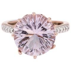 14 Karat Rose Gold Amethyst and Diamond Cocktail Ring