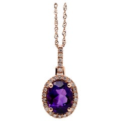 14 Karat Rose Gold Amethyst and Diamond Pendant with Chain
