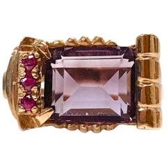 14 Karat Rose Gold Amethyst Ruby Ring