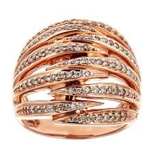 1 TCW Round Cut Diamond Cocktail Wrap Ring in 14 karat Rose Gold Size 7