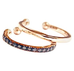 14K Rose Gold and Black Diamonds Faux Cartilage Hoop Earring Set