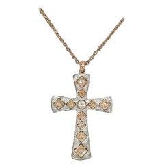 14 Karat Rose Gold and Diamond Cross