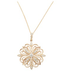 14 Karat Rose Gold and Diamond Pendant Necklace