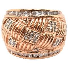 14 Karat Rose Gold and Diamond Textured Band Fashion Ring