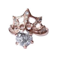 14 Karat Rose Gold and Grey Diamond Web Ring