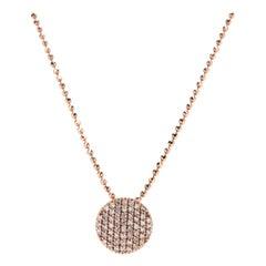14 Karat Rose Gold and Pavé Diamond Pendant Necklace