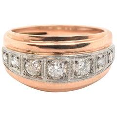 14 Karat Rose Gold and Round European Cut Diamond Ring