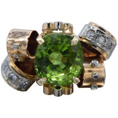 14 Karat Rose Gold and White Gold, Diamond and Peridot Ring