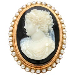 14 Karat Rose Gold Antique Hard Stone Cameo Brooch with Pearls