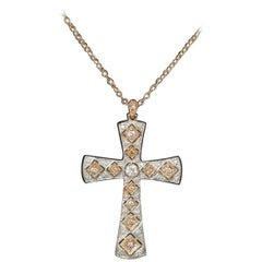 "14 Karat Rose Gold ""Antiqued"" Cross with 12 Round ""Pinkish"" Diamonds"