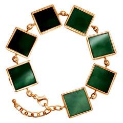 14 Karat Rose Gold Art Deco Bracelet with Dark Green Quartzes, Featured in Vogue