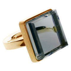 14 Karat Rose Gold Art Deco Ring with Blue Quartz, Featured in Vogue