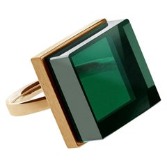 14 Karat Rose Gold Art Deco Style Ring with Green Quartz, Featured in Vogue