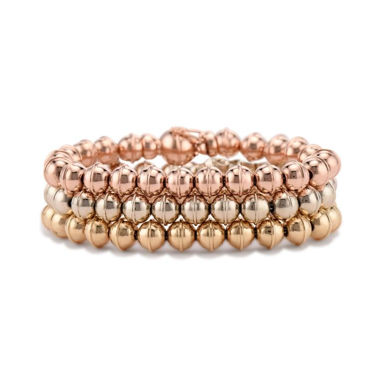 Contemporary Marlo Laz 14K Rose Gold Bead Squash Blossom Southwestern Stackable Bracelet For Sale