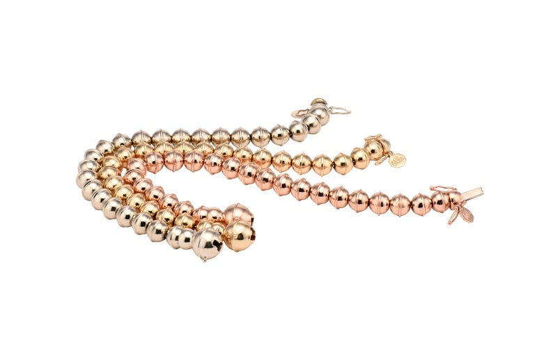 Marlo Laz 14K Rose Gold Bead Squash Blossom Southwestern Stackable Bracelet In New Condition For Sale In New York, NY
