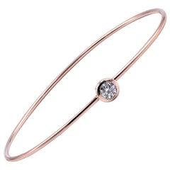 14 Karat Rose Gold Bezel Set Diamond Bangle Bracelet
