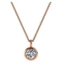 14 Karat Rose Gold Bezel Solitaire Diamond Pendant 'Center- 1/5 Carat'
