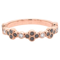 14 Karat Rose Gold Black and White Diamond Stackable Ring