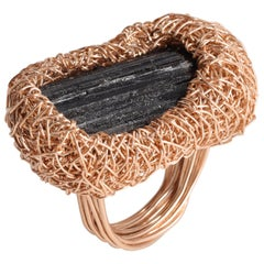 Rose Gold Black Raw Tourmaline Cocktail Ring by Sheila Westera in Stock