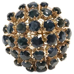 14 Karat Rose Gold Blue Sapphire Dome Ring