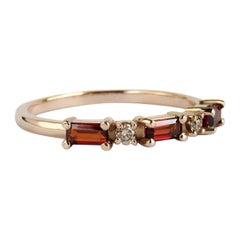 14 Karat Rose Gold Brown Diamonds and Garnet Ring