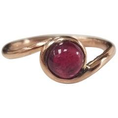 14 Karat Rose Gold Cabochon Cut Ruby Ring