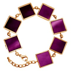 14 Karat Rose Gold Contemporary Link Bracelet with Natural Amethysts