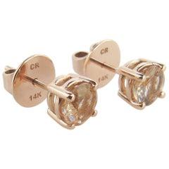 14 Karat Rose Gold Copper Rutilated Quartz Studs