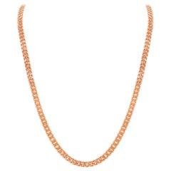 14 Karat Rose Gold Cuban Link Chain Necklace